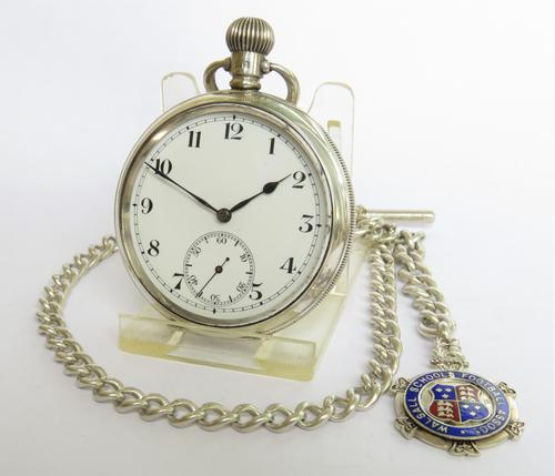 Antique Swiss Silver Pocket Watch & Chain (1 of 7)