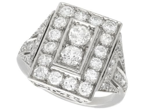 2.49ct Diamond & Platinum Dress Ring - Art Deco c.1930 (1 of 9)