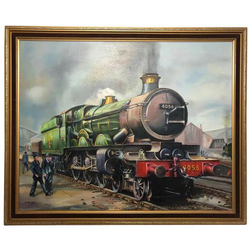Oil Painting Railway Train Engine Princess Margaret 4056 With Figures Signed Ken Allsebrook (1 of 13)