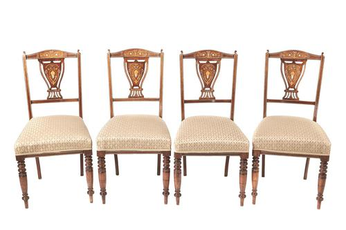Set of 4 Edwardian Rosewood Inlaid Dining Chairs (1 of 7)