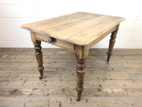 Antique Pine Farmhouse Kitchen Table with Drawer (1 of 13)