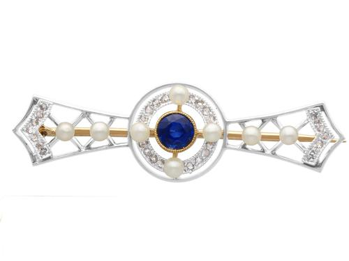 0.64ct Sapphire, 0.20ct Diamond & Seed Pearl, 9ct Yellow Gold & Platinum Brooch - Antique c.1905 (1 of 9)
