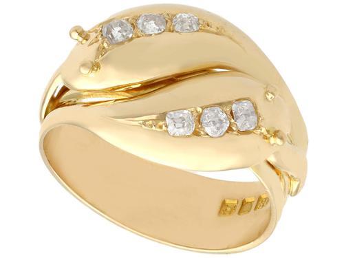 0.54ct Diamond & 18ct Yellow Gold Snake Dress Ring - George V 1931 (1 of 9)