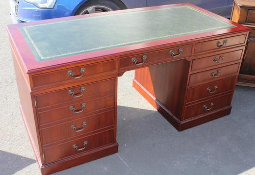 1960s Mahogany Pedestal Desk with Green Leather (1 of 4)