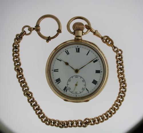 Gold Filled Open Face Pocket Watch with Gold Filled Chain Swiss 1925 Ald Case (1 of 7)