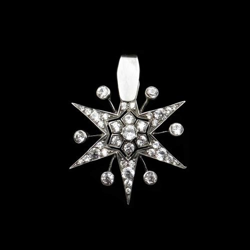 Antique Victorian Old Cut Paste Sterling Silver Star Pendant Conversion (1 of 8)