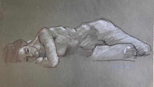 Original Chalk Drawing on Brown Paper 'Sleeping Figure' by Toby Horne Shepherd (1 of 1)