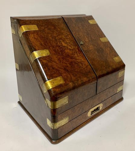 Victorian Burr Walnut Brass Bound Desktop Stationery Cabinet (1 of 15)