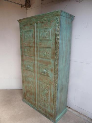 Handmade Indian Mango & Teak Large Painted Green 2 Door Storage Cupboard (1 of 12)