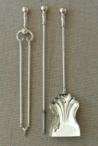 Genuine Victorian Brass Fire Irons Companion Set Tongs Poker Shovel (1 of 7)