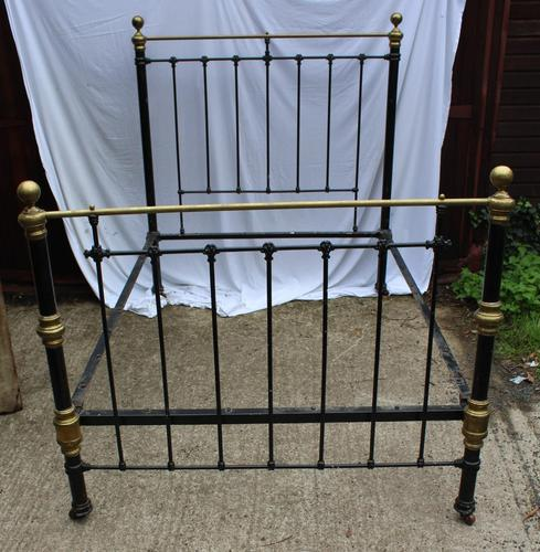 1900's Quality Brass and Iron Black Bed Frame - Check sizes. No Base (1 of 4)