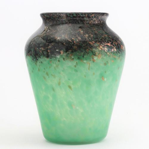 Monart Glass Vase in Celadon & Black with Bronze Aventurine c.1930 (1 of 9)
