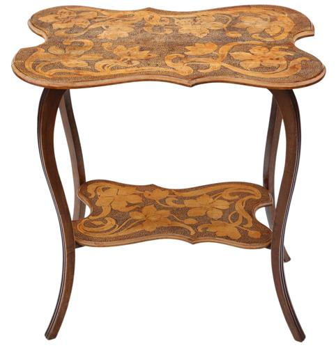 Shaped Beech Pokerwork Occasional Side Table c.1900 (1 of 6)