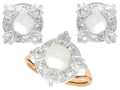 4.08ct Diamond & Pearl, 12ct Yellow Gold Earring & Ring Set - Antique c.1870 (1 of 15)