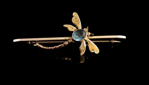Antique Dragonfly Brooch, 9ct Yellow Gold, Edwardian (1 of 12)