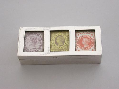 Victorian Silver Triple Compartment Stamp Box (1 of 15)