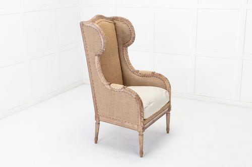 19th Century French Carved Wood Wing Chair (1 of 10)