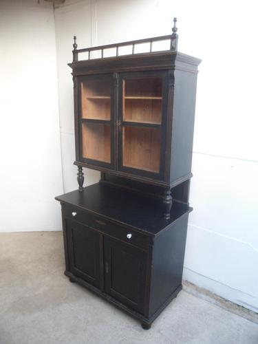 Trendy Victorian Black 2 Door Antique Pine Glazed Kitchen Dresser (1 of 11)