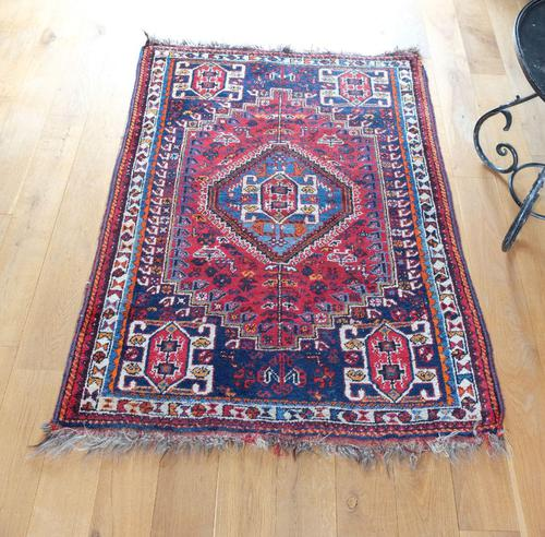 Vintage Persian Handmade Rug with a Vibrant Red & Blue Ground (1 of 8)