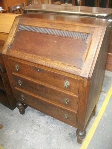 Three Drawer Oak Bureau (1 of 4)