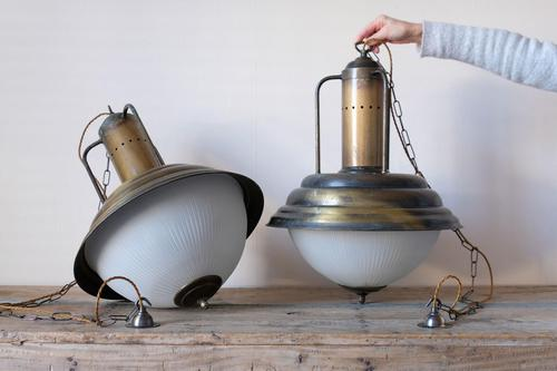 Industrial Style Hanging Lights, Brass With Holophane Glass Shades (1 of 16)