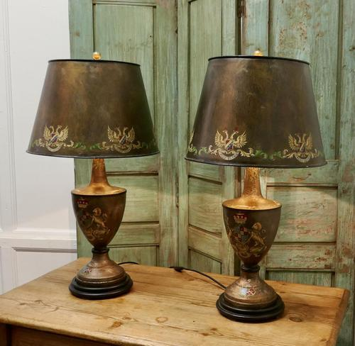 A Pair of Large Bronze Coloured Toleware Table Lamps (1 of 9)