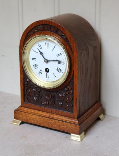 Edwardian Oak Arch Top Mantel Clock (1 of 12)