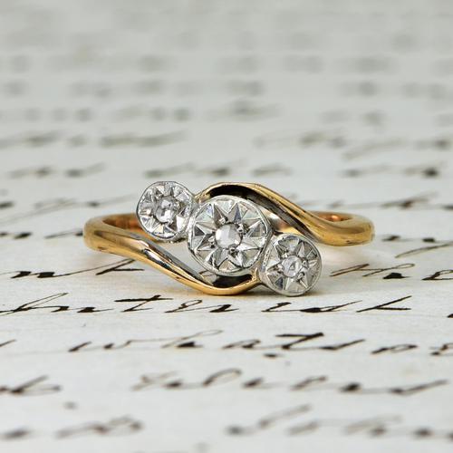The Vintage Rosy Illusion Trio Diamond Ring (1 of 5)