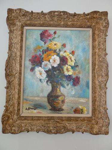 1930s Oil Painting Vase of Flowers (1 of 7)