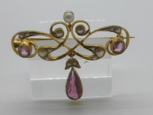 Edwardian 15ct Gold, Pink Tourmaline & Pearl Brooch (1 of 5)