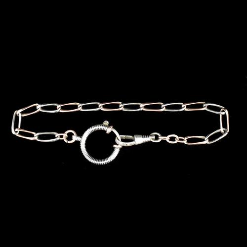 Antique Niello Silver and Gold Watch Chain Bracelet with Dog Clip and Bolt Ring (1 of 8)