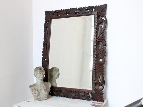 Late 19th Century Floral Fretwork Oak Mirror (1 of 5)