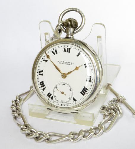 Silver 1923 Buren Pocket Watch & Chain (1 of 4)