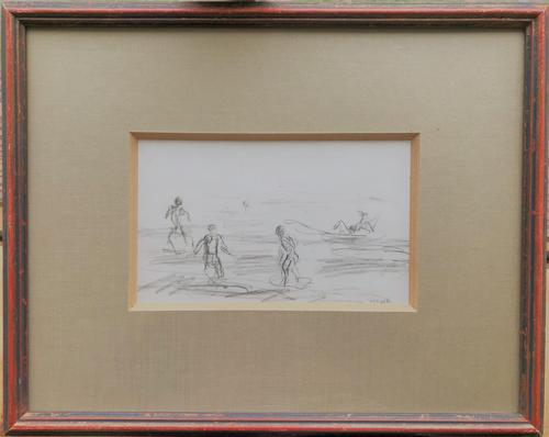 Original Pencil Drawing 'Boys Swimming Near Leith, Edinburgh' by Helmut Petzsch 1920-2008. Signed 7 Dated 1951 (1 of 2)