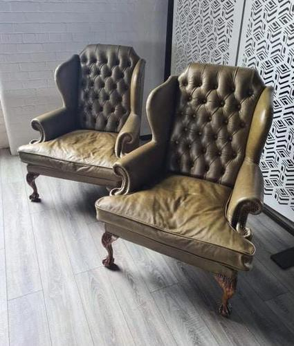 Pair of Leather Wing Chairs (1 of 10)