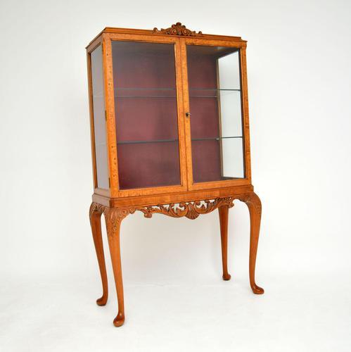 Queen Anne Style Burr Walnut Display Cabinet c.1930 (1 of 11)