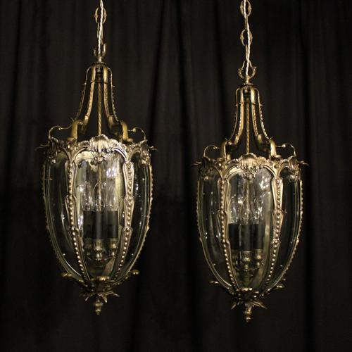French Pair of Silver Gilded Bronze Lanterns (1 of 8)