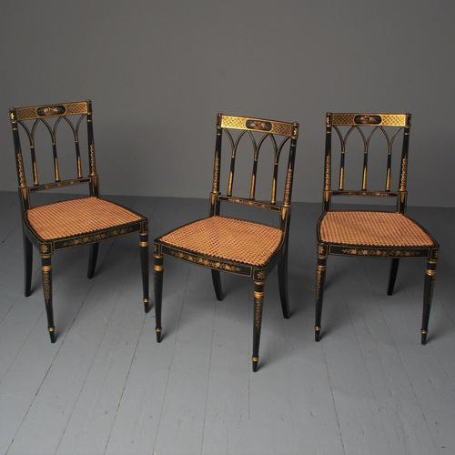 Set of 3 Regency Style Painted Bergere Chairs (1 of 18)