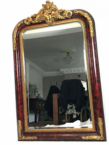 Large French Empire Boulle Style Gilt Cherub Pier Bevelled Mirror (1 of 13)