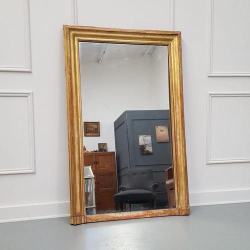 Antique Gilded Narrow French Mirror c.1860 (1 of 6)