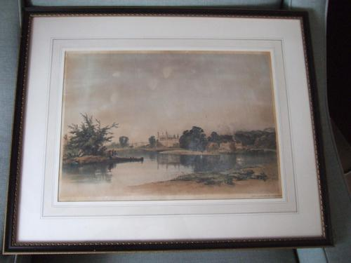 """After James Baker Pyne 1800-1870: Lithograph """"Eton College from the Playing Ground"""" 1838 (1 of 8)"""