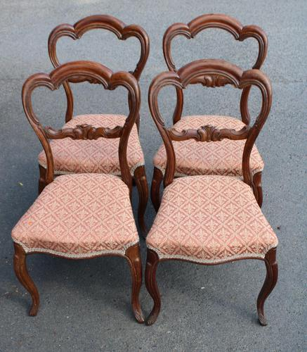 1900's Set of 4 Mahogany Heart Shaped Chairs with Pink Upholstery (1 of 3)