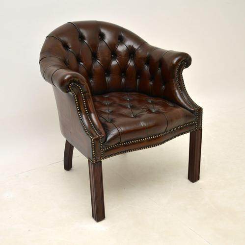 Antique Leather Armchair / Desk Chair (1 of 9)