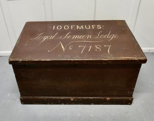 Victorian Painted Masonic Pine Chest (1 of 7)