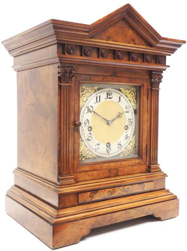 Incredible Burr Walnut Mantel Clock Westminster Chime Musical Bracket Clock Chiming on 5 Coiled Gongs (1 of 5)