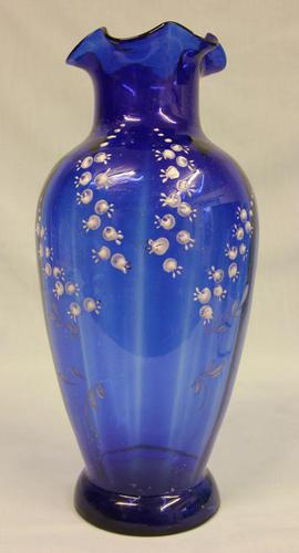 Large Late Victorian Bristol Blue Glass Vase (1 of 5)