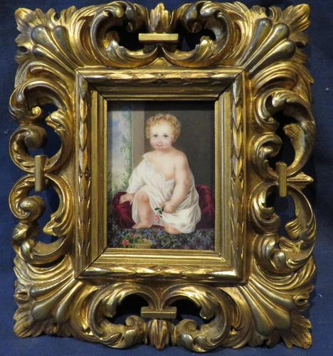 1831 Miniature Portrait Young Girl Holding a Flower by Mary Frederica Glyn (1 of 4)