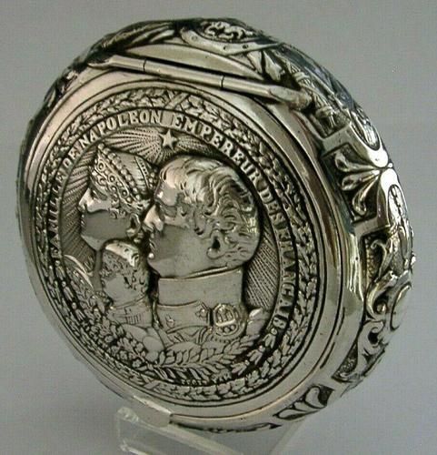 Super Rare German 800 Solid Silver Napoleon Tobacco Snuff Box c.1900 (1 of 10)
