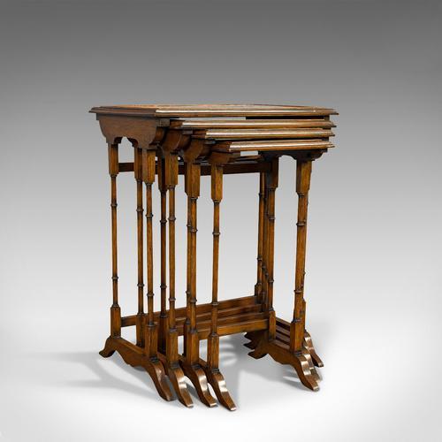 Antique Quartetto of Tables, English, Walnut, Mahogany, Nest, Edwardian, C.1910 (1 of 10)