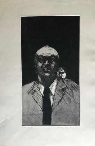 Original etching 'Untitled' by Alireza Espahbod 1951-2007 Signed and dated 77. Numbered V/Vl (1 of 2)